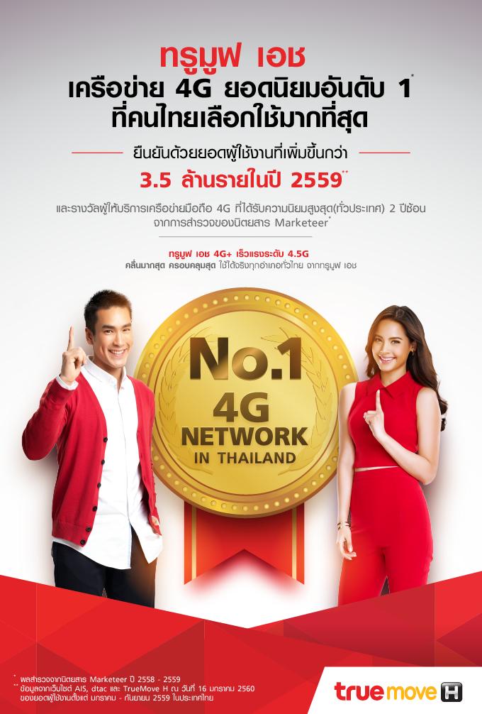 เร็วแรงครองใจคนไทยทั่วประเทศ ย้ำความเป็นที่ 1 เครือข่าย 4G ยืนยันด้วยยอดผู้ใช้งานทรูมูฟ เอช กว่า 3.5 ล้านรายในปี 2559